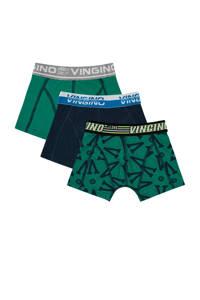 Vingino   boxershort Grafiek - set van 3 groen/donkerblauw, Groen/donkerblauw/grijs