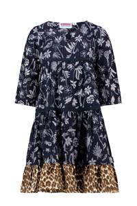 Vingino A-lijn jurk Parisse met all over print donkerblauw/bruin, Donkerblauw/bruin