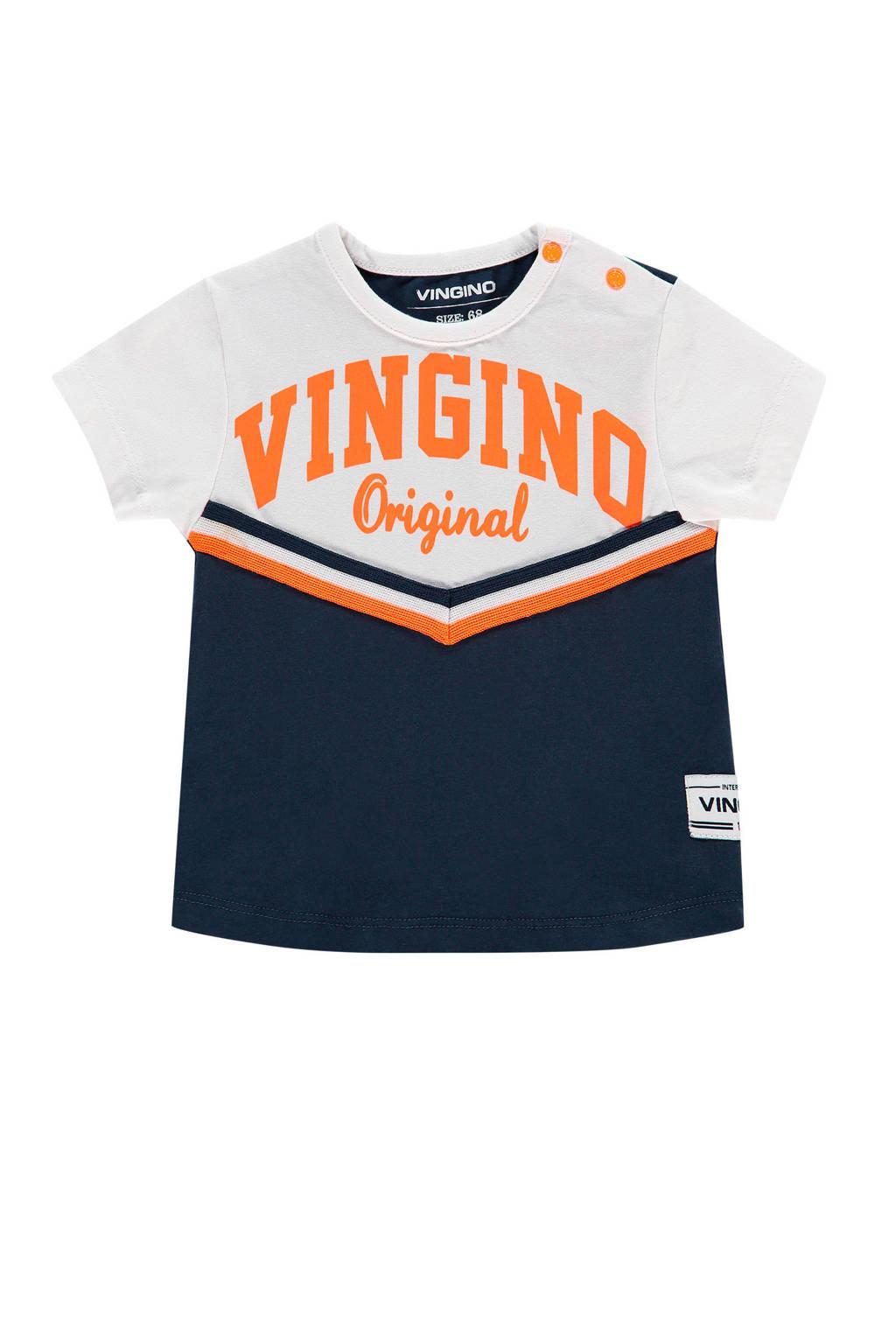 Vingino T-shirt Horter mini met logo donkerblauw/wit/oranje, Donkerblauw/wit/oranje