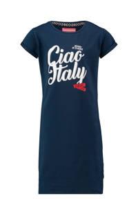 Vingino jersey jurk Pourle met tekst donkerblauw, Donkerblauw