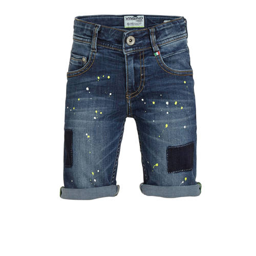 Vingino jeans bermuda Cigello met verfspatten blue