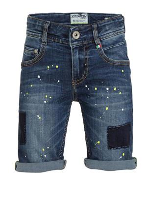 jeans bermuda Cigello met verfspatten blue vintage