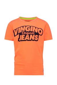 Vingino T-shirt Haja met logo neon oranje, Neon oranje