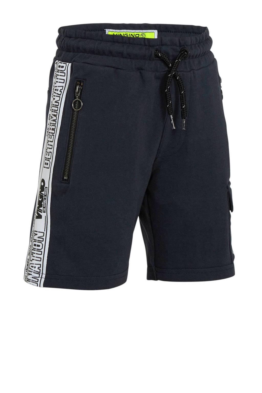 Vingino cargo sweatshort Rezz met zijstreep donkerblauw, Donkerblauw