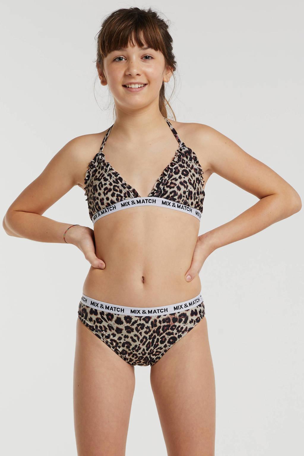 Vingino halter bikini Zichelle met panterprint, Bruin/zwart
