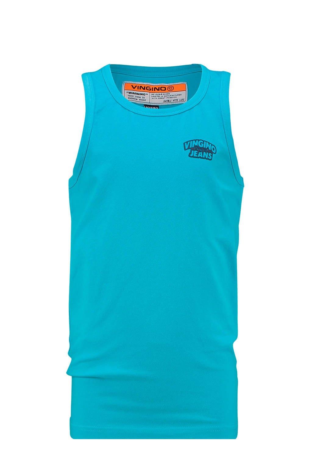 Vingino mouwloos T-shirt Gavi met logo aqua blauw, Aqua blauw