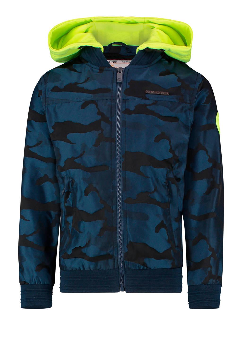 Vingino zomerjas Thessel met camouflageprint donkerblauw/neon geel, Donkerblauw/neon geel