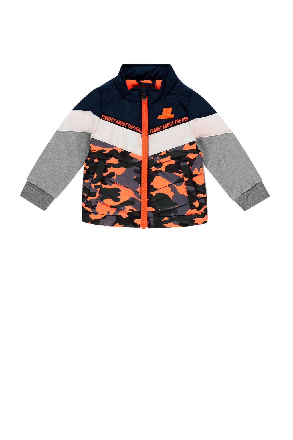 Vingino zomerjas Tamsir mini met camouflageprint donkerblauw/grijs melange/oranje, Donkerblauw/grijs melange/oranje