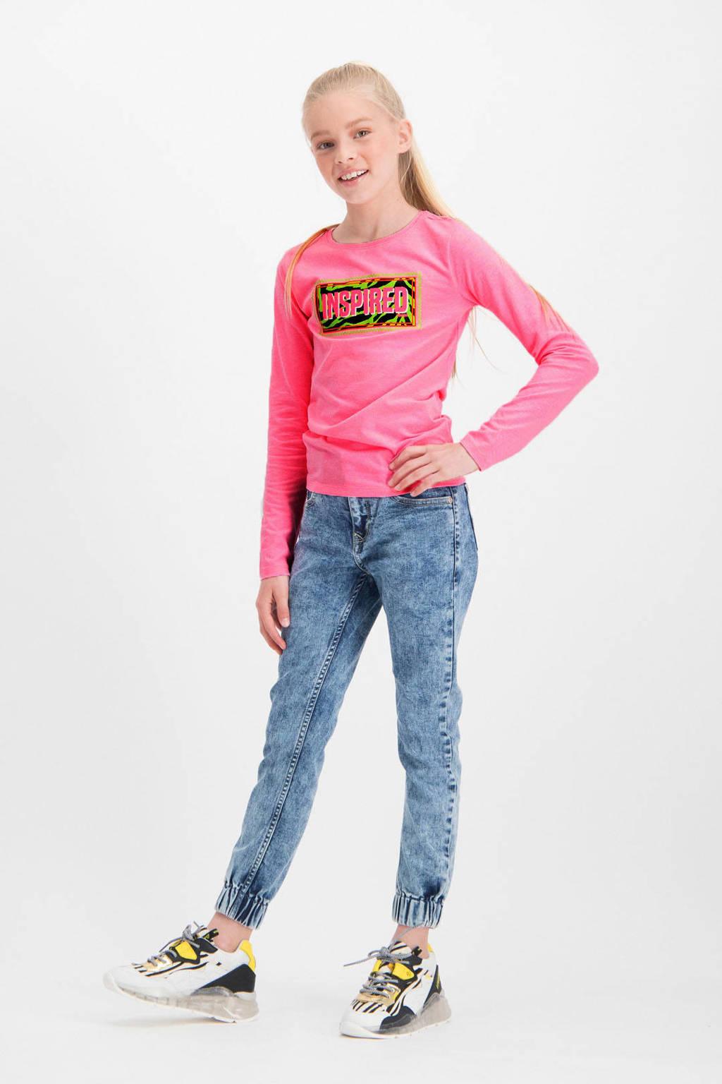 Vingino longsleeve Julie met printopdruk neon roze, Neon roze