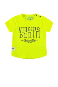 Vingino T-shirt Held mini met tekst neon geel, Neon geel