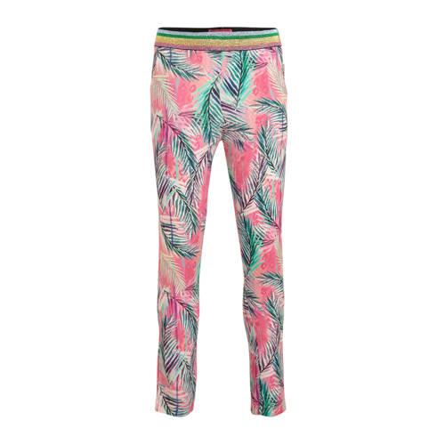 Vingino gebloemde slim fit broek Stilla roze/groen