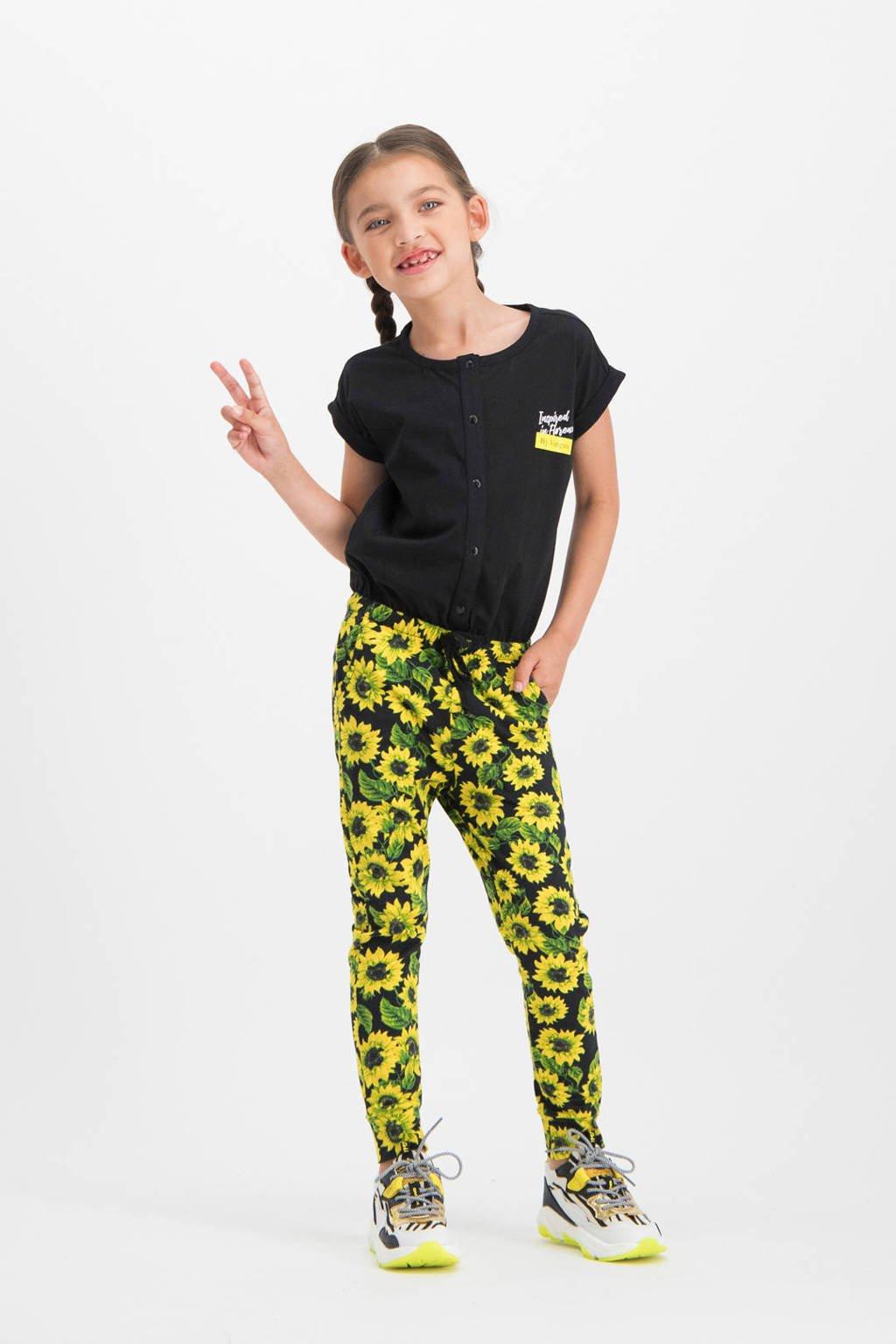 Vingino gebloemde jumpsuit Padaly zwart/geel, Zwart/geel