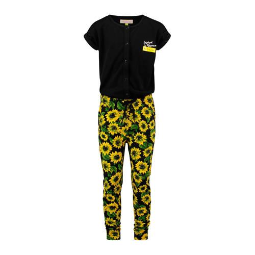 Vingino gebloemde jumpsuit Padaly zwart/geel