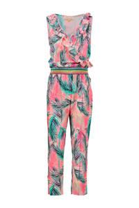 Vingino gebloemde jumpsuit Pernella roze/groen, Roze/groen