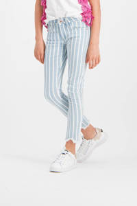 Vingino gestreepte high waist slim fit jeans Abricot blauw/wit, Blauw/wit