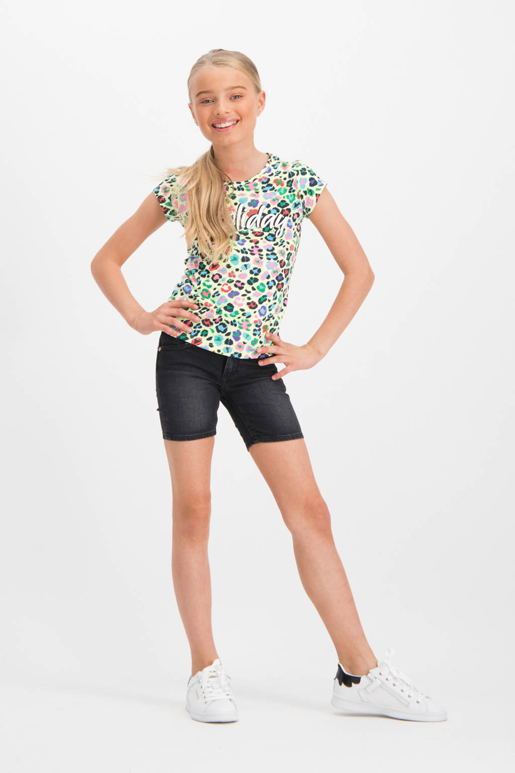 Vingino T-shirt Holisa met all over print neon lime/multi, Neon lime/multi