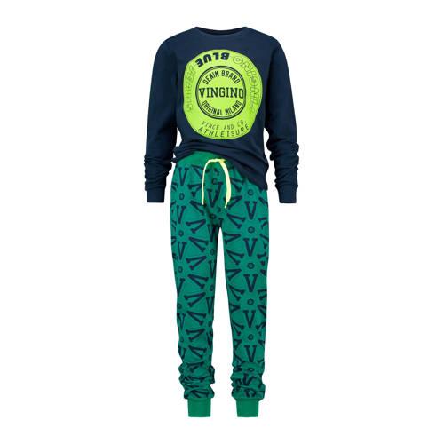 Vingino pyjama Wolf met printopdruk donkerblauw/gr