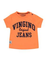 Vingino T-shirt Hracho mini met logo neon oranje, Neon oranje