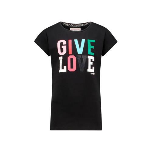 Vingino T-shirt Helsa met tekst zwart
