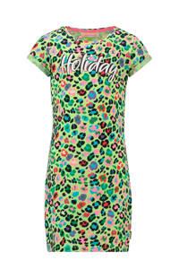 Vingino gebloemde jersey jurk Pilly groen/multicolor, Neon groen/multicolor