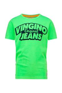 Vingino T-shirt Haja met logo neon groen, Neon groen