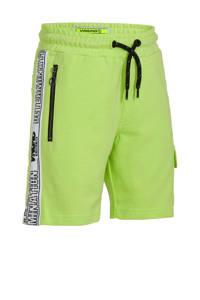 Vingino cargo sweatshort Rezz met zijstreep neon geel/zwart/wit, Neon geel/zwart/wit