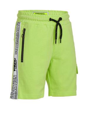 cargo sweatshort Rezz met zijstreep neon geel/zwart/wit