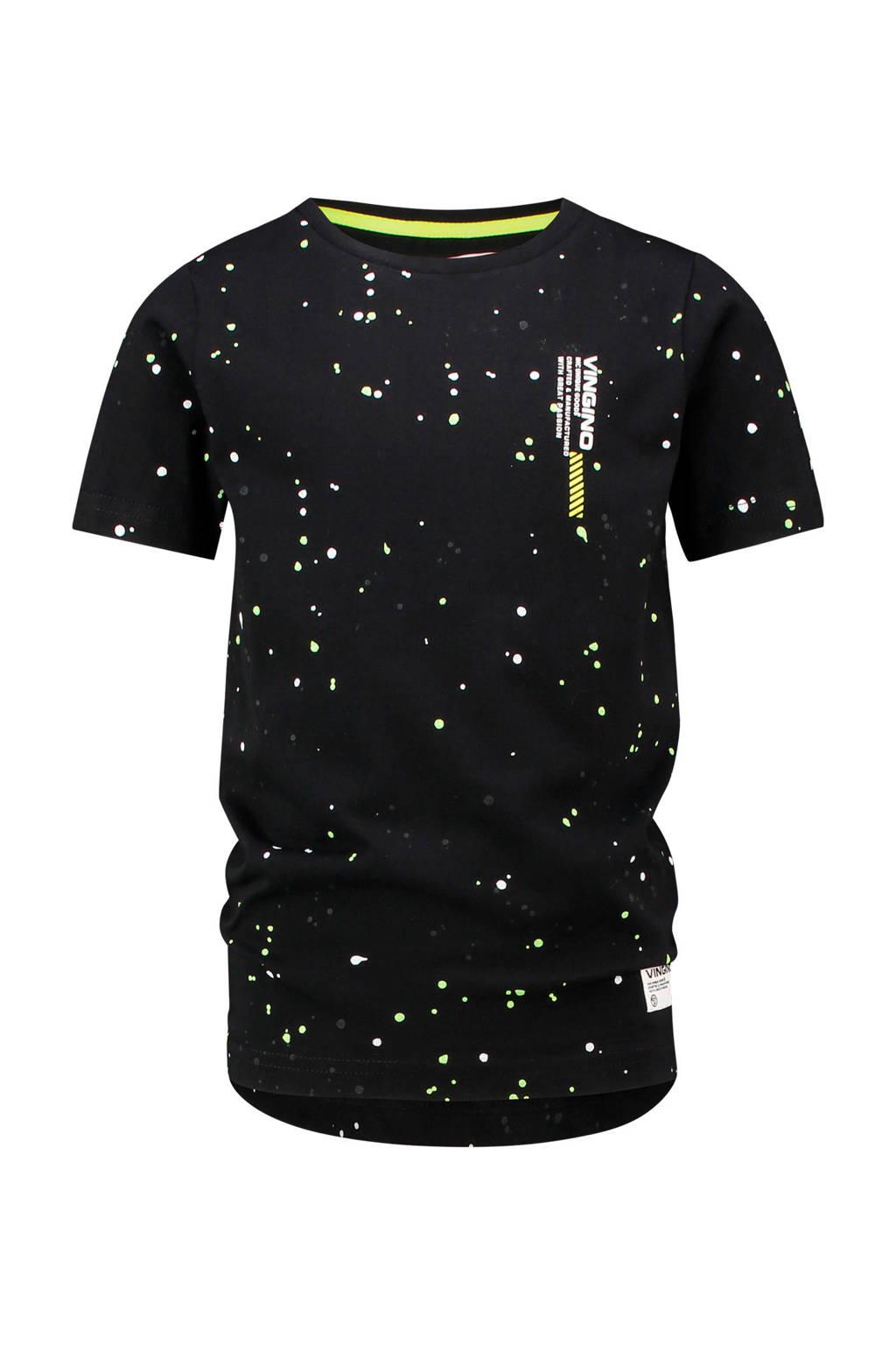 Vingino T-shirt Haint met logo zwart, Zwart