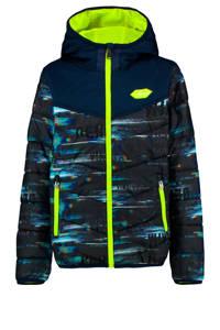 Vingino omkeerbare tussenjas Thorgal met all over print donkerblauw/neon geel, Donkerblauw/neon geel