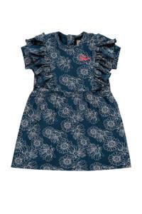Vingino gebloemde A-lijn jurk Pippi mini donkerblauw/grijs, Donkerblauw/grijs