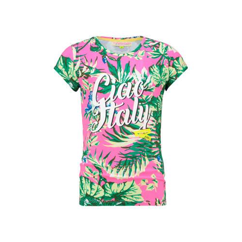 Vingino T-shirt Hattiya met all over print roze/gr