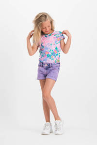Vingino gebloemd T-shirt Holisa roze/blauw/groen, Roze/blauw/groen