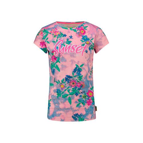 Vingino gebloemd T-shirt Holisa roze/blauw/groen