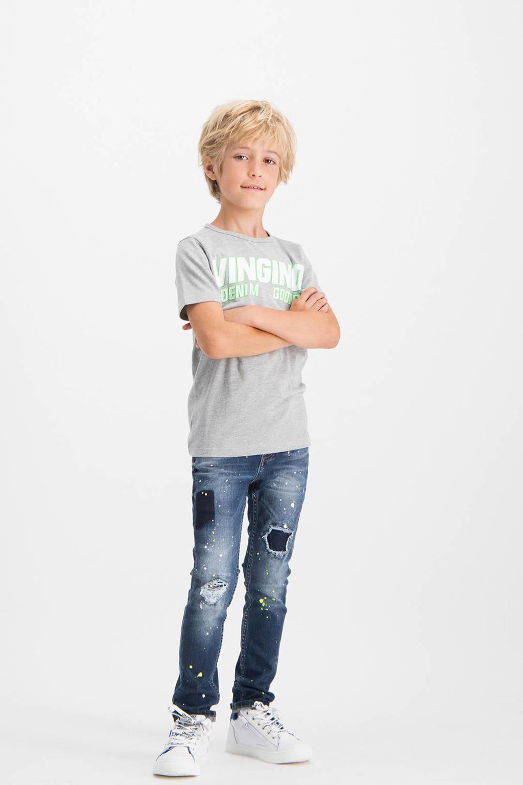 Vingino skinny jeans Anzio met slijtage dark denim/wit/neon geel, Dark denim/wit/neon geel