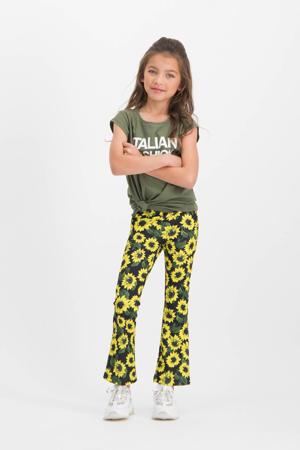 gebloemde flared broek Saniesta geel/zwart/groen