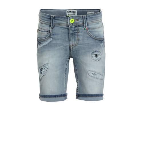 Vingino jeans bermuda Carlisio met slijtage light