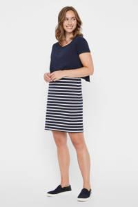 MAMALICIOUS gestreepte zwangerschapsjurk June met biologisch katoen donkerblauw/wit, Donkerblauw/wit