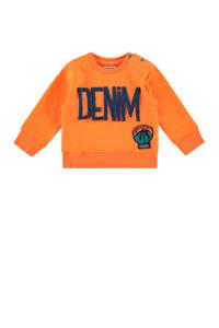 Vingino sweater Nash mini met tekst en 3D applicatie neon oranje, Neon oranje