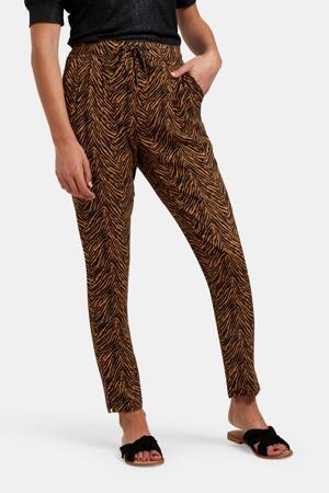 tapered fit broek Gaby met zebraprint bruin/zwart