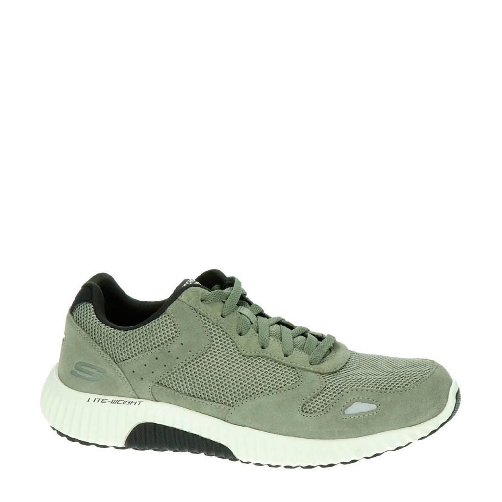 Skechers Paxmen  suède sneakers kaki, Kaki/groen