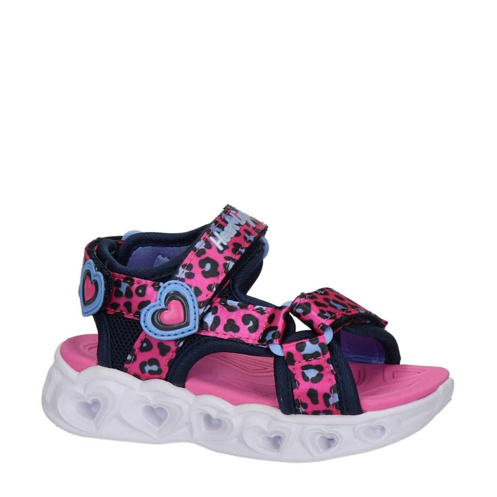 Skechers Heart Lights  sandalen met lichtjes panterprint roze, Fuchsia/zwart