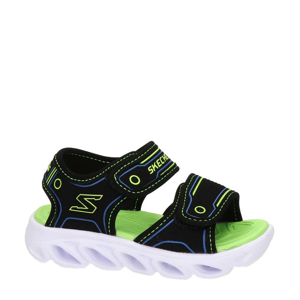 Skechers S-Lights  sandalen met lichtjes zwart/groen, Zwart/groen