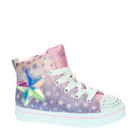 Skechers Twinkle Toes  hoge sneakers met lichtjes lila/roze, Lila/roze
