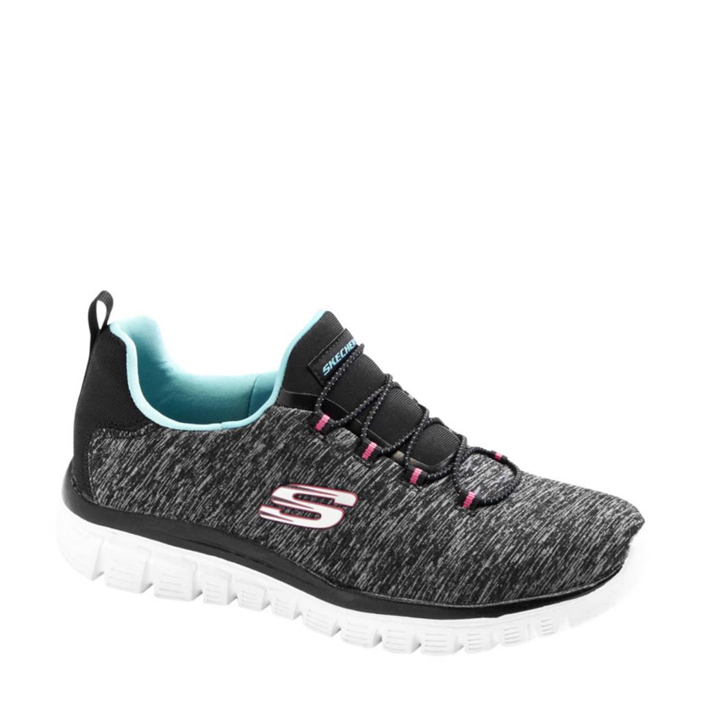 Skechers   sneakers zwart/grijs, Zwart/grijs/blauw