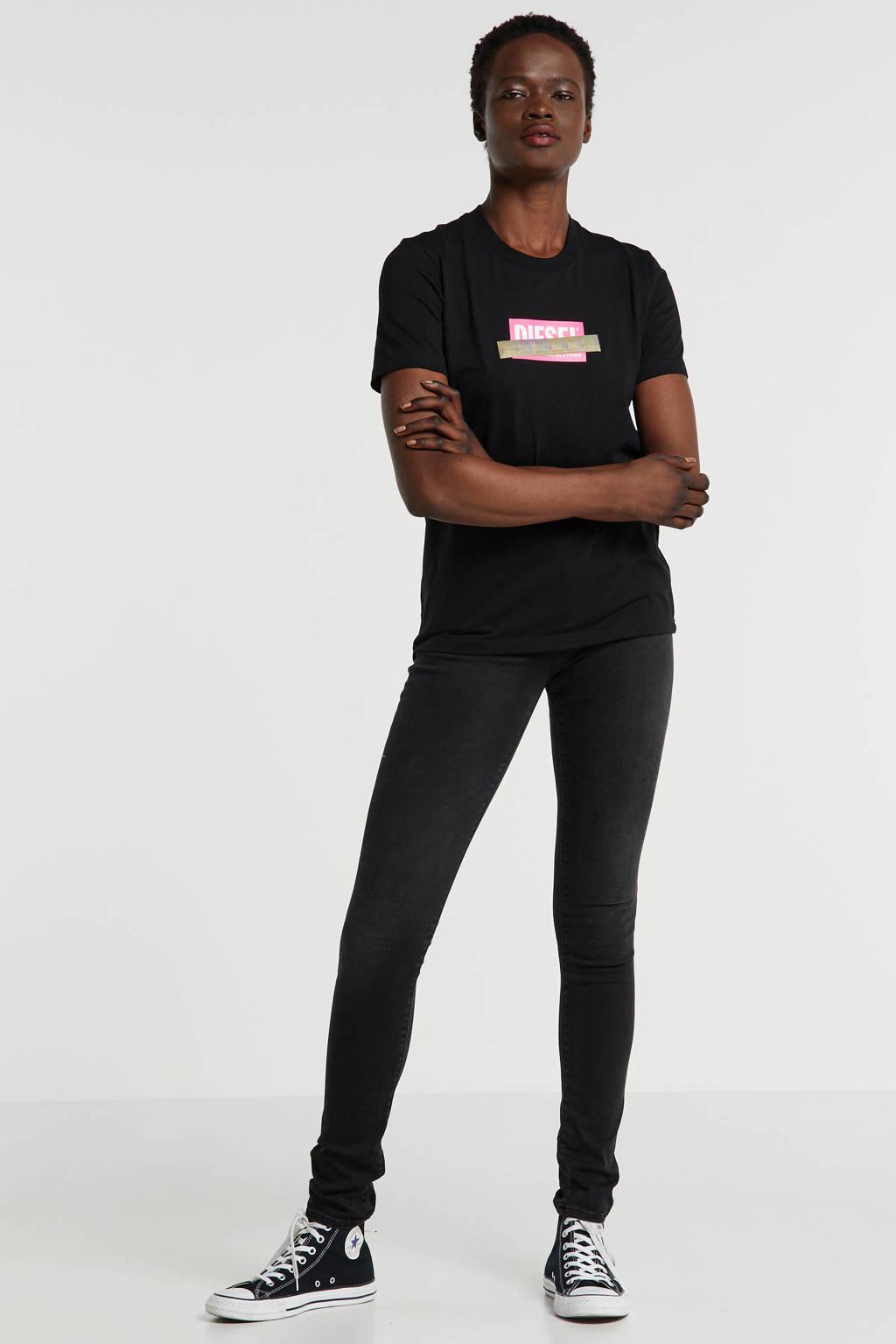 Diesel T-shirt met logo zwart, Zwart