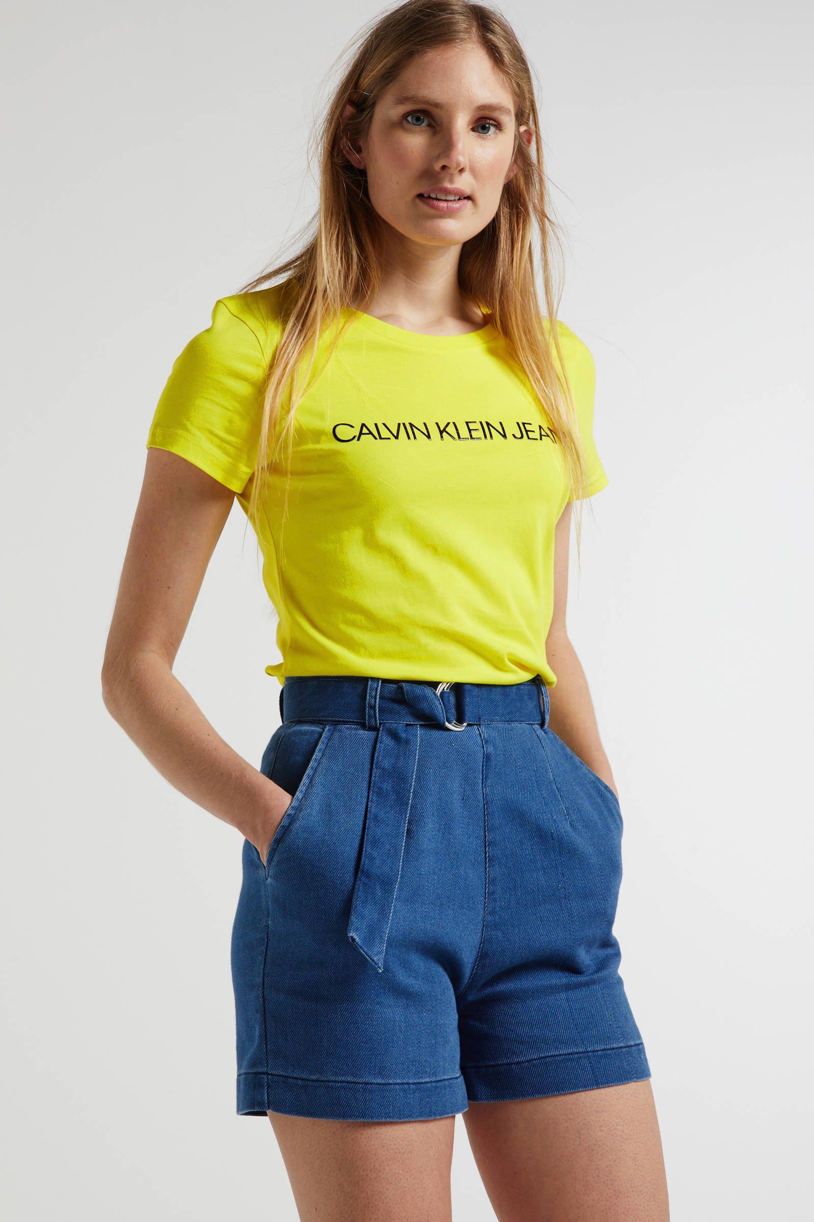 CALVIN KLEIN JEANS T-shirt met logo geel