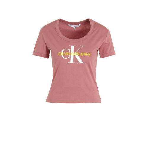 CALVIN KLEIN JEANS T-shirt met logo oudroze
