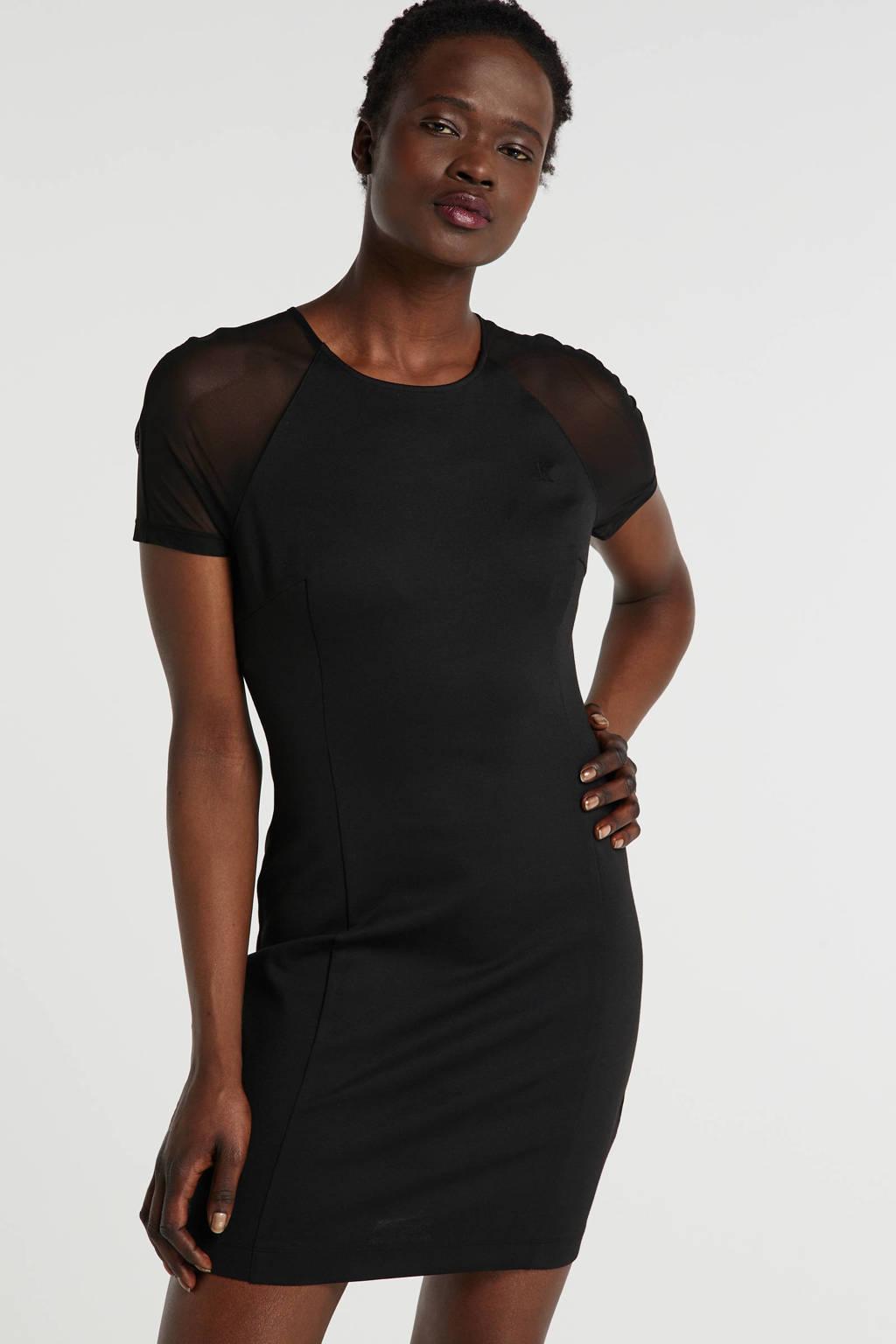 CALVIN KLEIN JEANS jersey jurk Milano met mesh zwart, Zwart