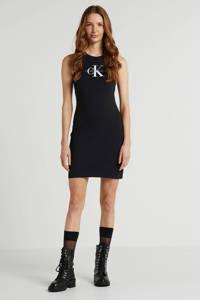 CALVIN KLEIN JEANS jersey jurk met logo zwart, Zwart