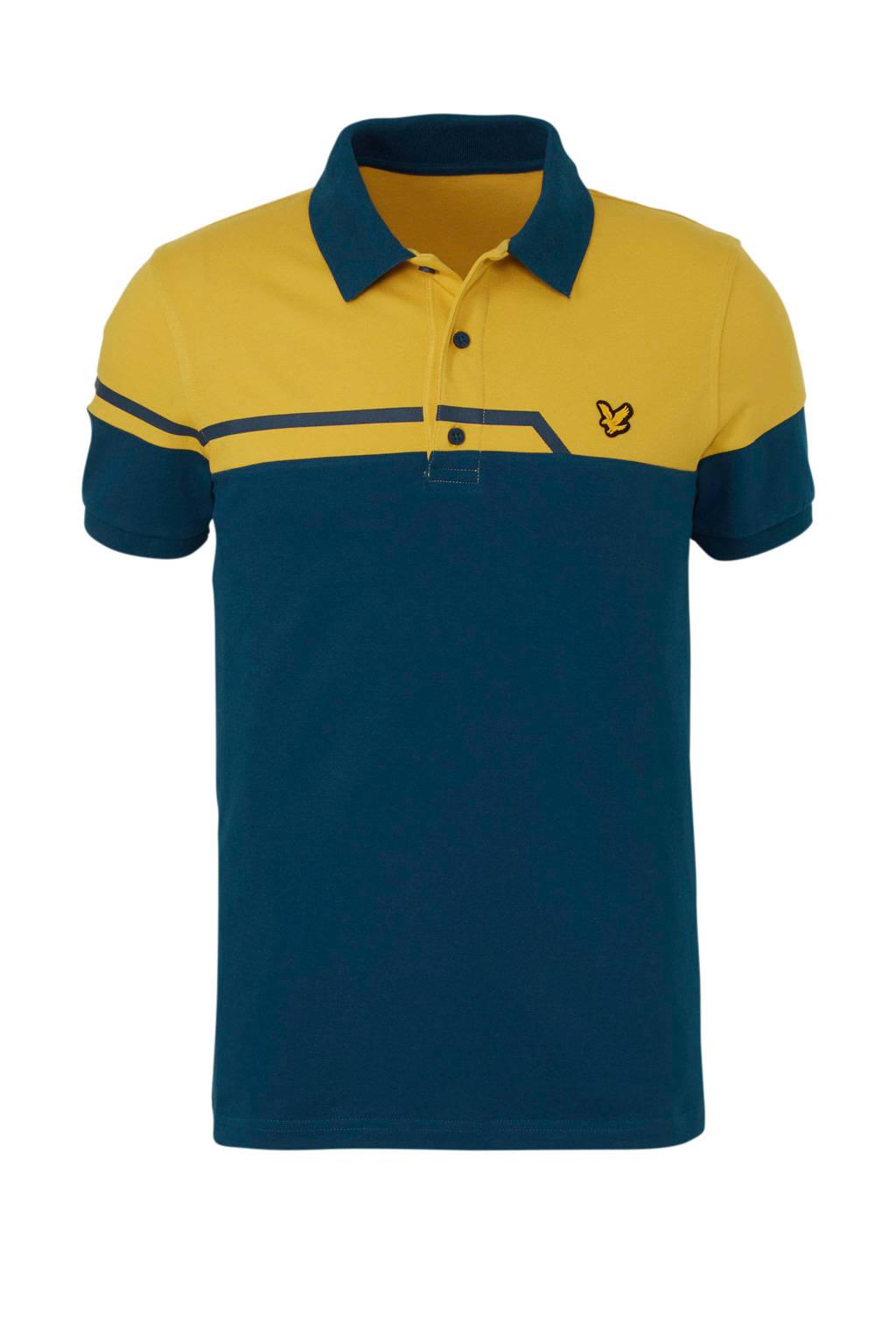 Lyle & Scott   polo blauw/geel, Blauw/geel